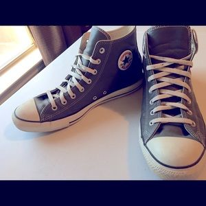Grey Leather Men Converse